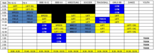Weight room time management schedule for summer program